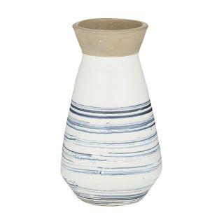 Cove Ceramic Vase 15.5x26.5cm-Nat/Blue