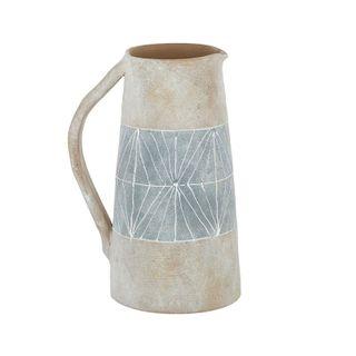 Adah Ceramic Jug 18x27.5cm Natural/Blue#