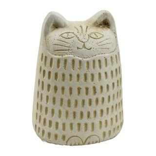 Coco Cat Cement Sculpture 7x9cm- Natural