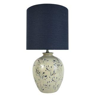Emika Cer Handpaint Lamp 33x61cm-Iv/Navy