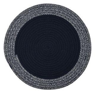 Demi Cotton Round Placemat 38cm Navy/Wht