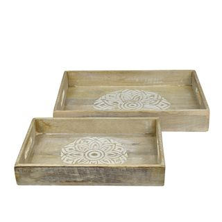 Nyala S/2 Wood Trays 25.5x38x6cm-Nat/W#