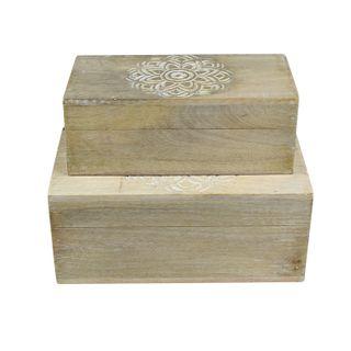 Nyala S/2 Wood Boxes 10x23x13cm-Nat/Wh#