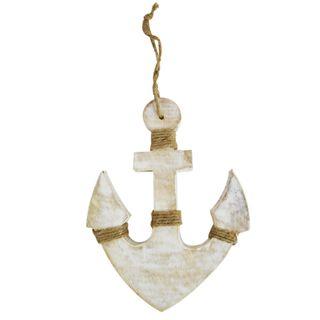 Anchor Wood Sculpture 20.5x25.5cm-Wh/Wsh