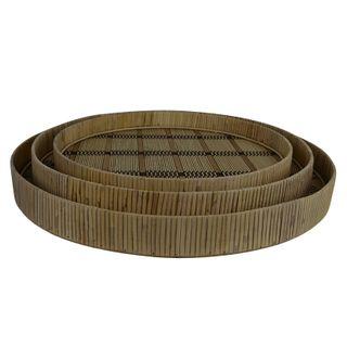 Manu S/3 Bamboo Trays 49.5x5.5cm-Nat/Blk