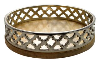 30x7cm Wood/Alum Morrocan Serving Tray