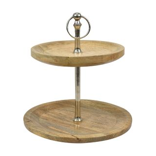 Alain 2 Tiered Stand 35x42cm Nat/Silver