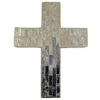 Suri Inlay Cross-Large 20x26cm-Ivor/Grey