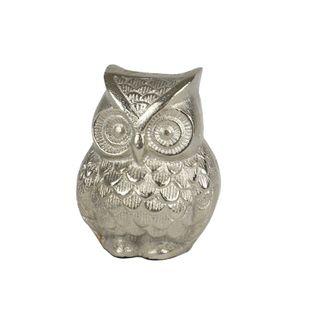 Oscar Owl Metal Scultpure 9x10cm Silver