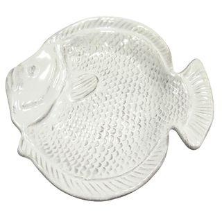 Fish Ceramic Plate 24.5x25.5cm- White#