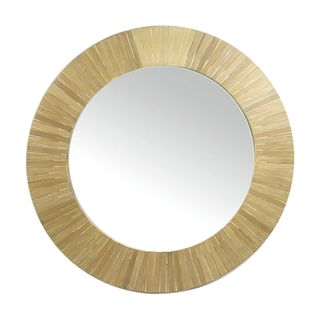 Nadi Bamboo Inlay Round Mirror 80cm Nat#