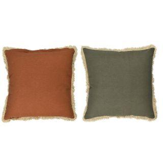 Sybill Cott Reverse Cushion 50x50cm Rust