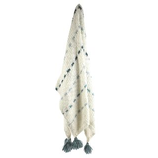 Andreas Knit Throw 125x150cm Ivory/Blue#