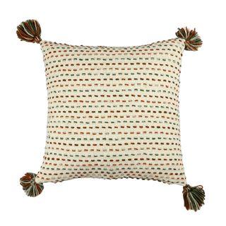 Bartal Knit Cushion 50x50cm Ivory/Green#