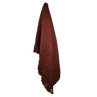 Carin Wool Blend Throw 125x150cm Wine#