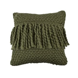 Carin Wool Blend Cushion 45x45cm Green#