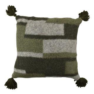 Loui Wool Blend Cushion 50x50cm Nat/Grn#