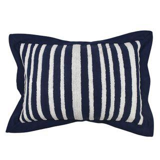 Nina Cotton Emb Cushion 40x60cm Navy/Wht