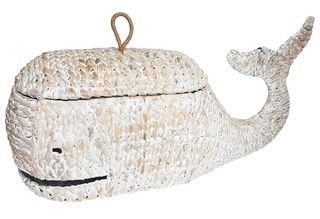 Whale Woven Basket W/Lid 31x86x45cm-Whit