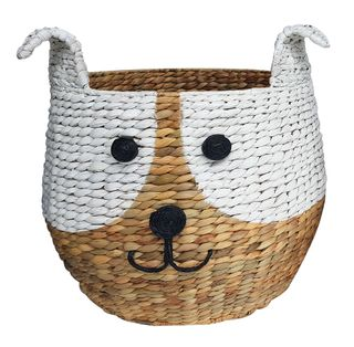 Woof Woven Basket 43x43cm-Natural/White