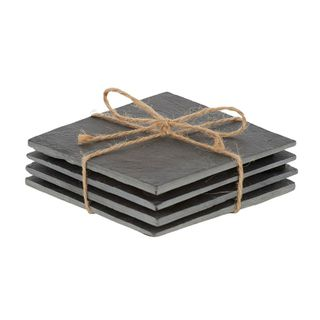 Soren Slate S/4 Coasters 10x10cm- Black