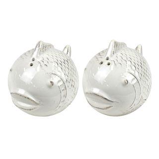 Fish S/2 Ceramic S&P 6x9x7cm- White