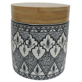 Aleah Cer/Wood Canister 11x12cm-Blk/Whi