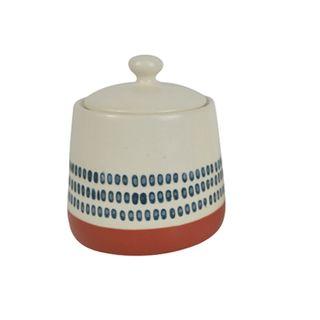 Sawyer Cer Sugar Pot 9.5x10cm White/Navy