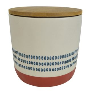 Sawyer Ceramic/Wood Canister 14x13cm Nvy