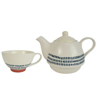 Sawyer Cer Tea For One 18x15.5cm Wht/Nvy