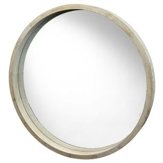 62cm Round Nat Wood Deep Rim Mirror