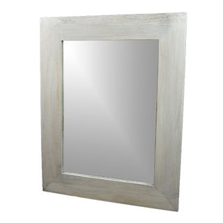 72x92cm Rect Nat Wood Flat Rim Mirror