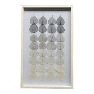 Berkeley Leaf Wall Art 50x80cm-Grey/Wht