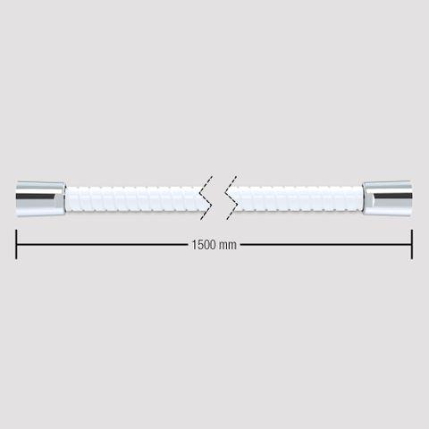 1500mm Softflex Spiral PVC Hose - White/Chrome