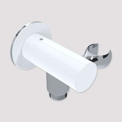 85mm Wall Outlet Elbow Bracket Chrome/White - 15L