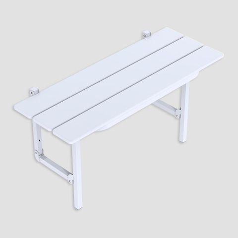 Slatted Folding Shower Seat - White