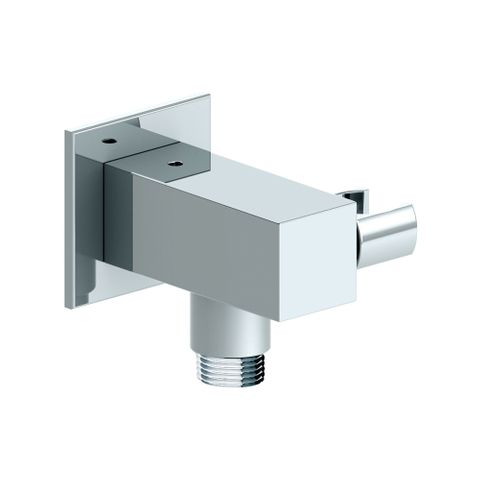 85mm Square Wall Outlet Elbow Bracket Chrome - 12L