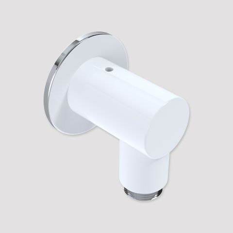55mm Wall Outlet Elbow White/Chrome - 12L