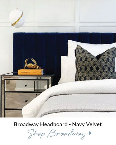 Broadway Headboard Navy Velvet