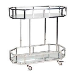 Brooklyn Mirrored Drinks Trolley - Silver