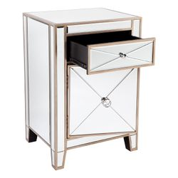 Apolo Mirrored Bedside Table - Antique Gold