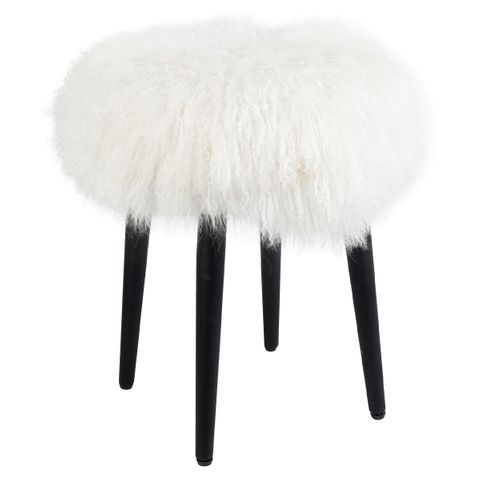 Dixie Stool - White Mongolian Fur