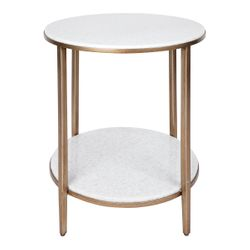Chloe Stone Side Table - Antique Gold