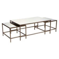 Cocktail Mirrored Nesting Coffee Table - Antique Gold