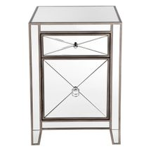Apolo Mirrored Bedside Table - Antique Silver
