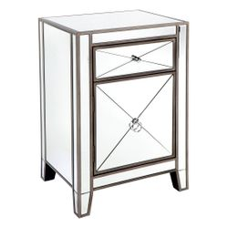Apolo Bedside Table - Antique Silver