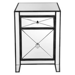 Apolo Mirrored Bedside Table - Black