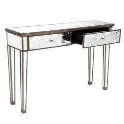 Apolo Mirrored Console Table - Antique Silver