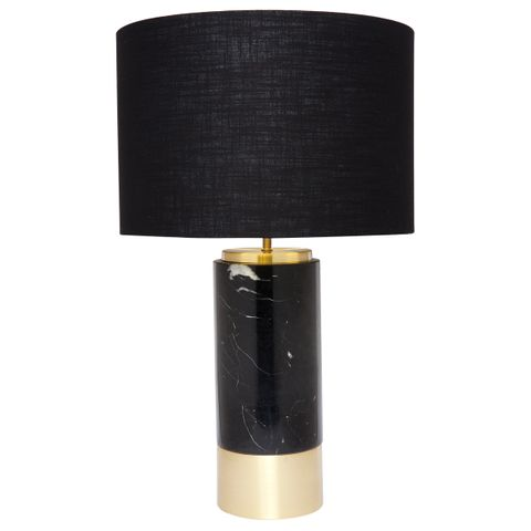 Paola Marble Table Lamp - Black w Black Shade