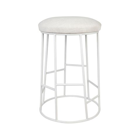 Aiden Kitchen Stool - Natural w White Frame